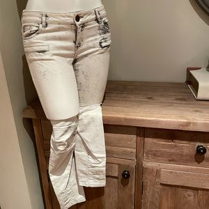 Maje 27 white wash jeans zip up Motto